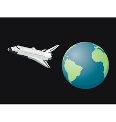 Shuttle space leave world flying on the sky above vector