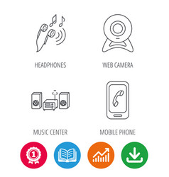 Smartphone web camera and headphones icons vector