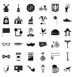 Sport bicycle icons set simple style vector