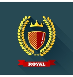 with laurel wreath shield and crown in flat design vector image vector image