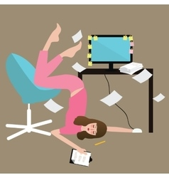 Woman people hard work tired full of paper vector