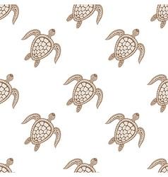Zentangle tribal stylized turtle seamless pattern vector