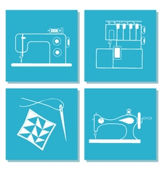 Set of cards with sewing machine needle stock of vector