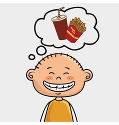 Boy french fries drink vector