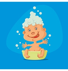 Baby taking bath vector