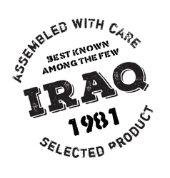 Assembled in iraq rubber stamp vector