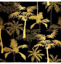 Golden black palm trees summer seamless vector