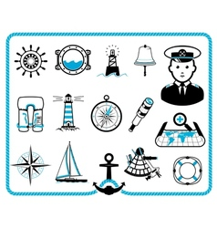 Nautical frame and icons vector