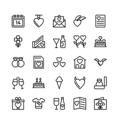 Love and valentine line icons 10 vector