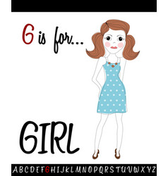 Cartoon of capital letter g with girl vector