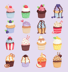 Set of cute cupcakes and muffins isolated vector