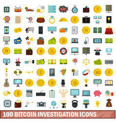 100 bitcoin investigation icons set flat style vector