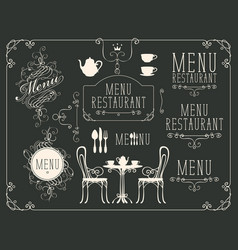 Set of drawings on the theme of restaurant menu vector