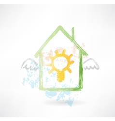 House and lamp grunge icon vector image