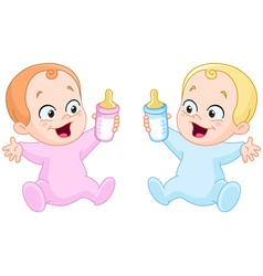 Babies with bottles vector