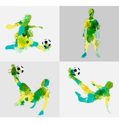 Soccer player kicks the ball with paint splatter vector