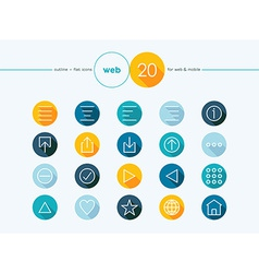 Web outline style flat icons set vector image