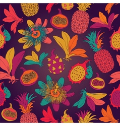 Vintage seamless tropical flowers with pineapple vector