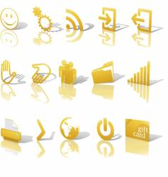 web gold icons shadows vector image