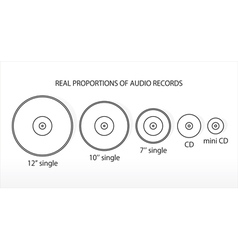 Real propportions of audio records vector image
