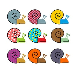 Set of snail with colored shell vector