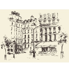 Streets paris france vintage drawn vector