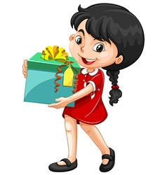 Little girl holding a box of present vector