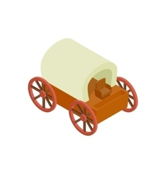 Western covered wagon isometric 3d icon vector