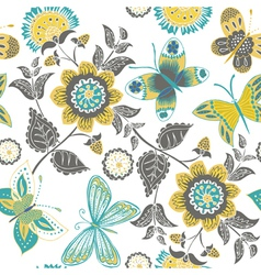 Butterflies and sunflowers vector