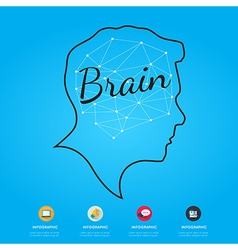 Brain infographic on blue background vector