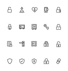 Security line icons 3 vector
