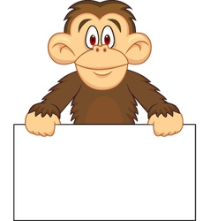 chimpanzee cartoon with blank sign vector image