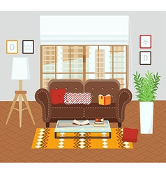 Interior of a living room vector
