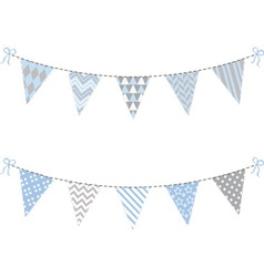 Blue and grey bunting flag set vector