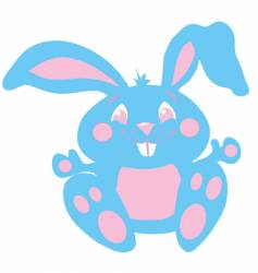 blue and pink cute bunny vector image vector image