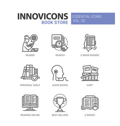 book store - modern color single line icon vector image vector image