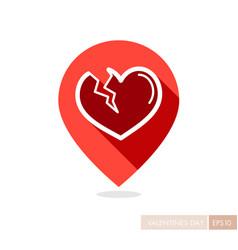 Broken heart pin map icon vector