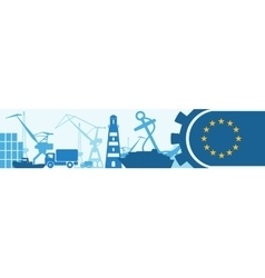Cargo port european union flag in gear vector
