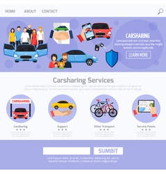 Carsharing service web template layout vector