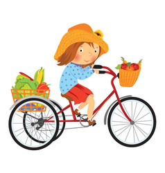 cartoon farmer girl on a bike with fruits vector image