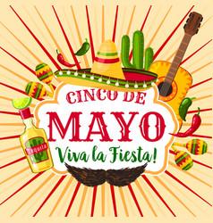 Cinco de mayo mexican holiday greeting poster vector