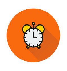 Clock icon on round background vector