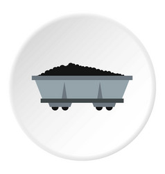 Coal trolley icon circle vector