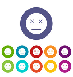 dead emoticon set icons vector image