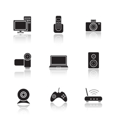 Electronic equipment drop shadow icons set vector