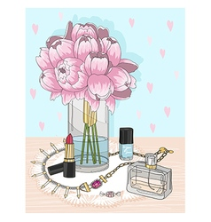 Fashion essentials Background with jewellery vector image vector image