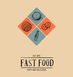 fast food cafe menu cover design vector image vector image