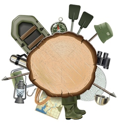 Fishing tackle with wooden board vector