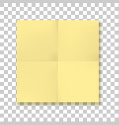 Folded square yellow paper sheet vector