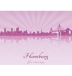 Hamburg skyline in purple radiant orchid vector